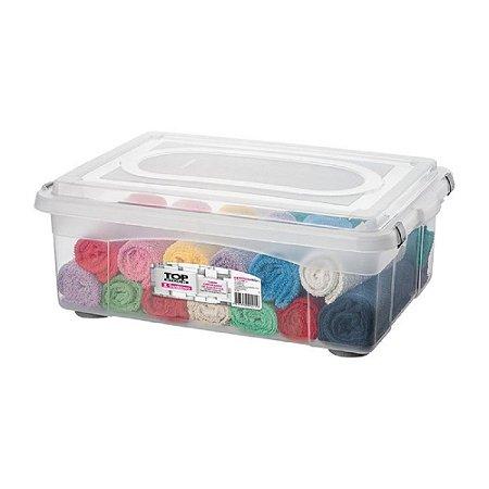 Caixa Organizadora com Tampa de Plástico Sanremo 42L 650x445x245cm - Incolor
