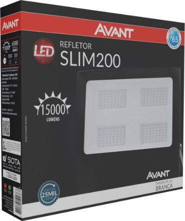 Refletor de Led Avant Slim 200W 6500K - Branco