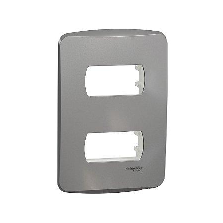 Placa 4X2 2 Postos com Suporte Miluz Alumínio - S3B77122 - Schneider Electric
