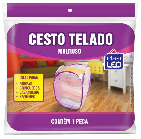 Cesto de Roupas Telado Dobrável 35x35x58cm - Branco - Plast Leo