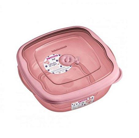 Pote de Plástico Quadrado Sanremo 2,7L - Rosa