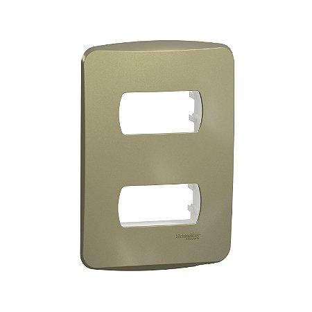 Placa 4X2 2 Postos com Suporte - Dourado - Miluz - S3B77123 - Schneider Electric