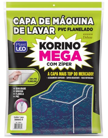 Capa para Máquina de Lavar PCV Flanelada Korino Mega Lisa Tamanho M - Branco - Plast Leo