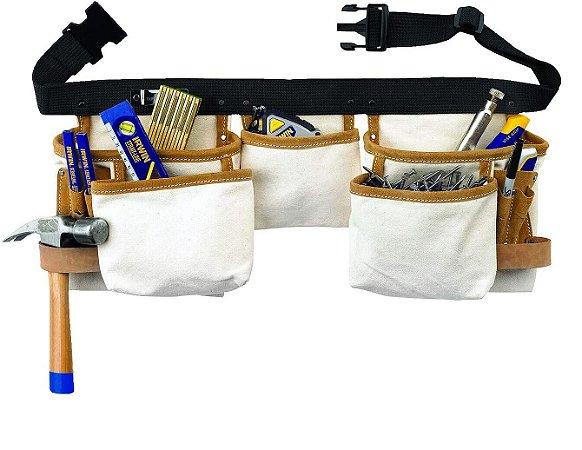 Cinturão para Ferramentas com 10 Bolsos em Lona - Branco e Preto - IW14086 - Irwin
