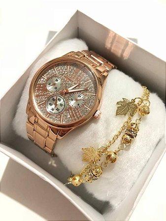 Relógio Feminino Rosé com Strass + Pulseira