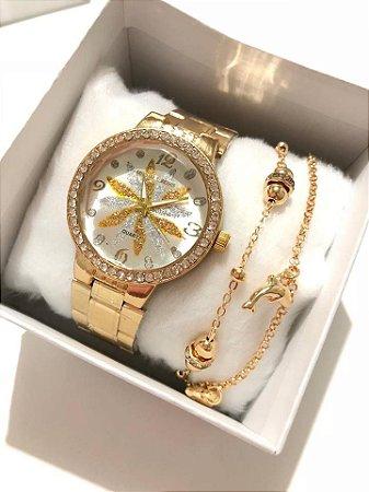 Relógio Feminino Dourado com Strass  + Pulseira