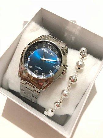 Relógio Feminino Prata + Pulseira de Bolinhas