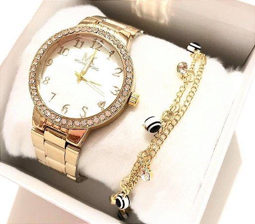Relógio Feminino Dourado com Strass  + Pulseira de Bolinhas