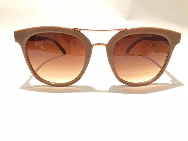 Óculos Solar Feminino Bege com Dourado