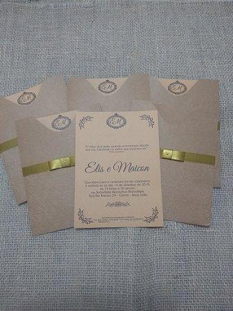Convite 14,2x19,2cm, envelope luva kraft texturizado - 10 unid.