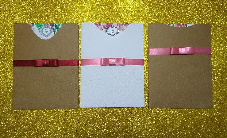 convite 14x19cm, envelope luva 14,2x19,2cm