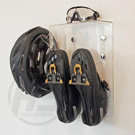 Suporte para sapatilha, capacete, óculos e acessórios | Transparente | Modelo Multi