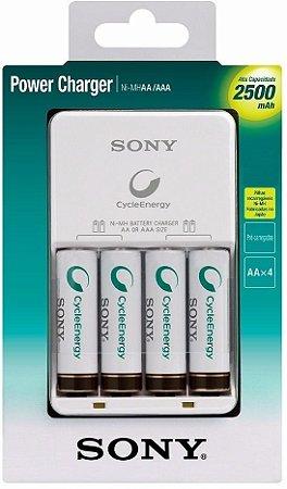 Carregador De Pilhas Recarregáveis Sony Aa/aaa Com 4 Pilhas 2500 Mah