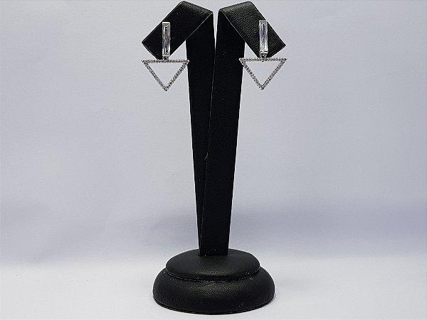 Brinco Pêndulo Triangular Pj136-Hb0 Branco
