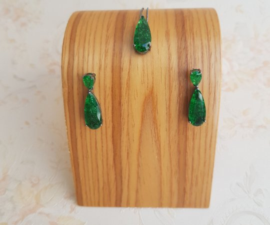 Conjunto Dupla Gota Alongada Crystal Verde AAH 0016063