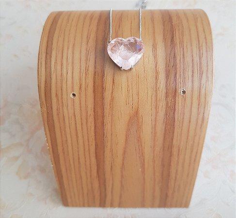 Colar Coração Solitário Crystal Rosa AAS_60004 P