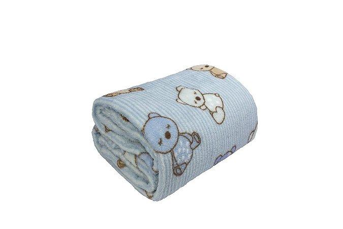 Manta para Bebê Ursinho Azul Infantil Microfibra Camesa 80x110cm