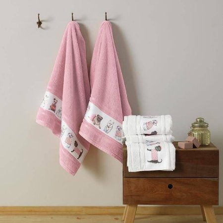 Toalha de Banho Infantil Rosa Mary Jane Karsten 67x135 cm
