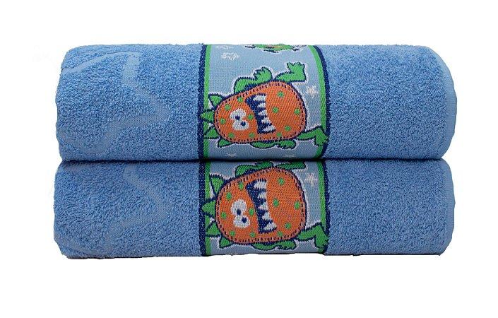 Toalha de Banho Infantil Monstros Azul Camesa 70x130 cm
