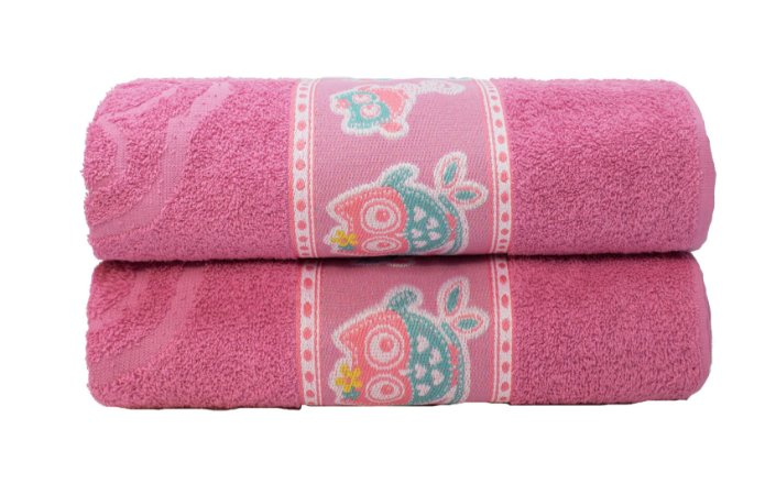 Toalha de Banho Infantil Coruja Rosa Camesa 70x130 cm