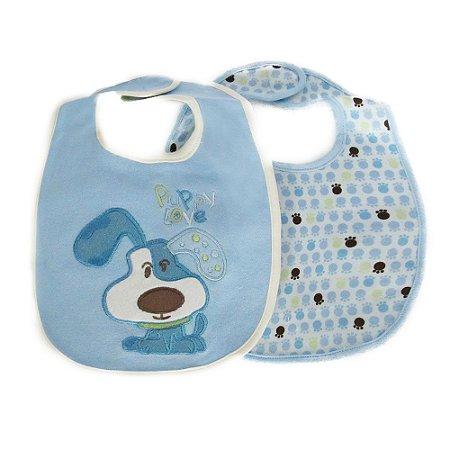 Kit Babador Baby Camesa 32 x 20cm Cachorrinho Azul