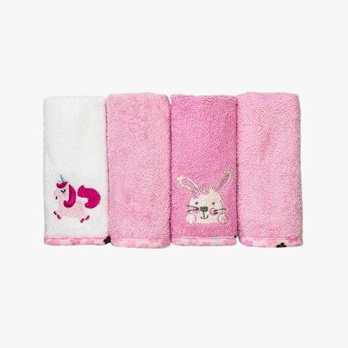 Kit toalha de boca Baby Camesa 4 peças Rosa