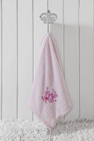 Manta Bebê Le Petit Flannel Bordada Borboleta Rosa 70x100cm Corttex