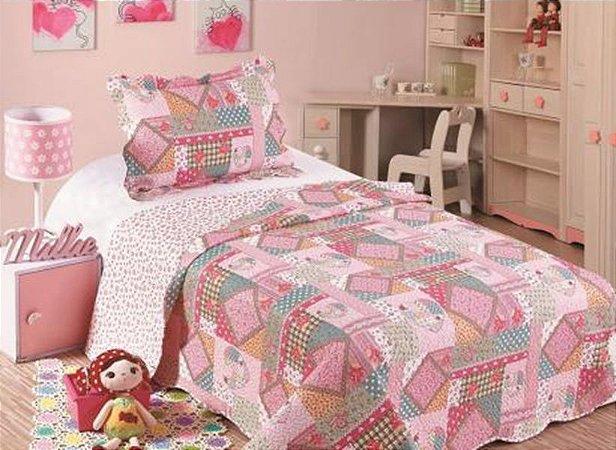 Colcha Matelasse Solteiro Infantil Patchwork Primavera 160x230 Camesa