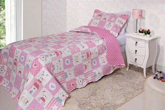 Colcha Solteiro Matelasse Infantil 180x 220 Urso Rozac