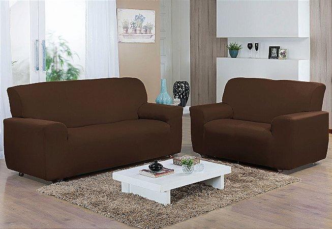 Capa de sofá kit 2 e 3 lugares Malha Gel Marrom Camesa