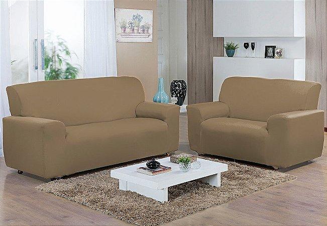 Capa de sofá kit 2 e 3 lugares Malha Gel Bege Camesa