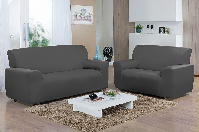 Capa de sofá kit 2 e 3 lugares Malha Gel Cinza Camesa