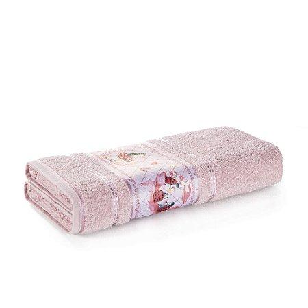 Toalha de Banho Infantil Menina Joaninha Rosa Karsten 67x135cm