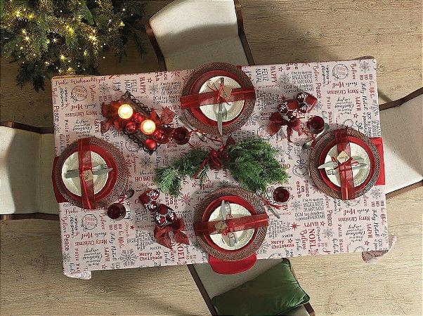 Toalha de Mesa Quadrada Saudações Natal Karsten 180X180cm