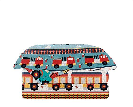 Colcha Matelasse Solteiro Infantil Patchwork Carrinhos 160x230 Camesa