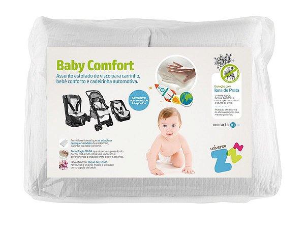 Assento Estofado Nasa Baby Comfort para Carrinho de Bebê Cadeira Automotiva Conforto Branco 40x60x5,5 Fibrasca