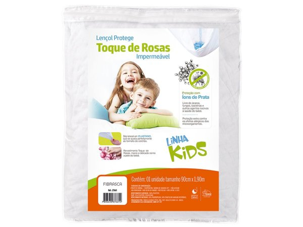 Protetor de Colchão Impermeável Kids solteiro 90x190 com tratamento íons de prata anti bactericida Fibrasca