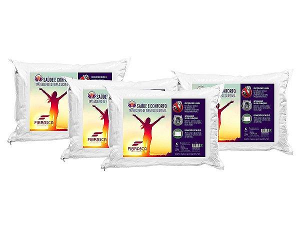 Kit 4pçs Travesseiro Íons de Prata Antiácaro Saúde e Conforto Fibra Integralmente Lavável 50x70 Fibrasca