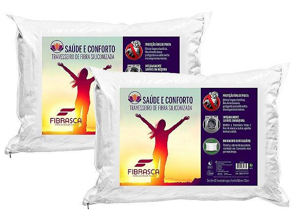 Kit 2pçs travesseiro Íons de Prata Antiácaro Saúde e Conforto Fibra Integralmente Lavável p/fronhas 50x70 Fibrasca