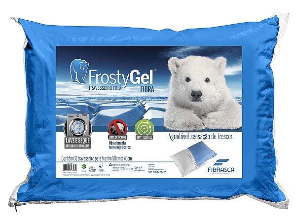 Travesseiro Frio Frostygel fibra integralmente lavável em máquina p/fronhas 50x70 Fibrasca
