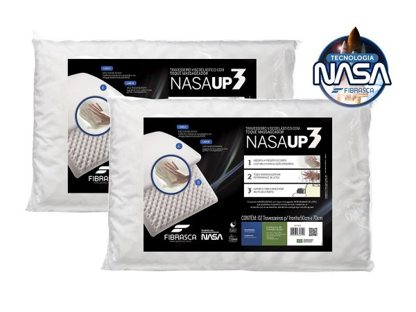 Kit 2 pçs Travesseiro Nasa up 3 p/fronhas 50x70 FIBRASCA