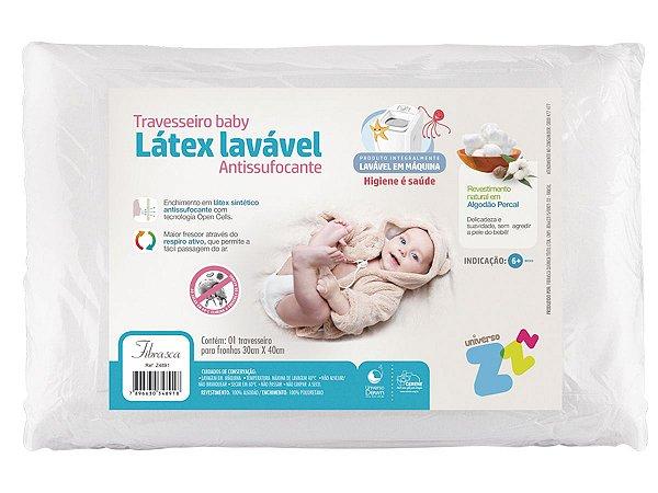 Travesseiro Látex Lavável Baby Capa Percal 180 fios Lavável em máquina 30x40cm Fibrasca