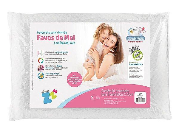 Travesseiro Favos De Mel Mamãe Alt 15cm Lavável Com Íons De Prata Fibrasca