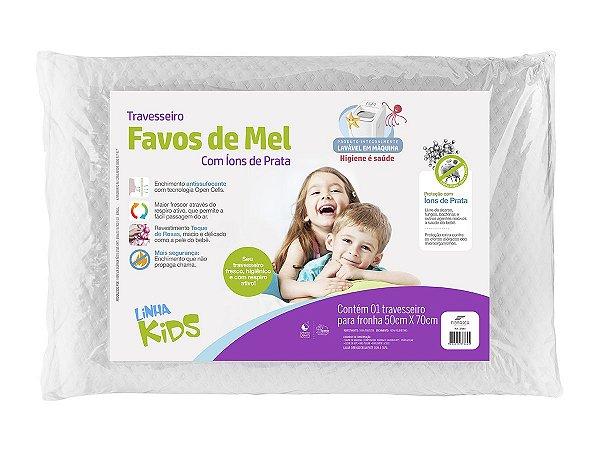 Travesseiro Favo De Mel Kids Alt 10cm Lavável Com Íons De Prata Anti Bactericida Fibrasca