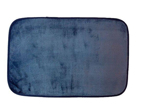 Tapete para Banheiro Antiderrapante Flannel Outlet Azul Marinho 60x40cm