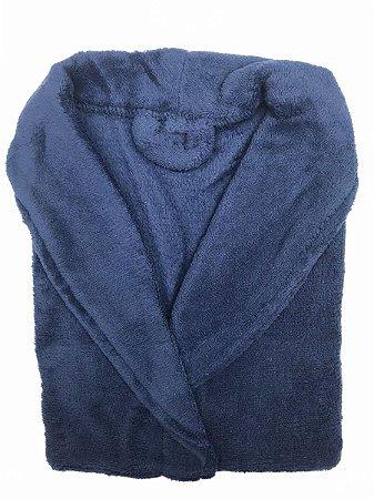 Roupão Microfibra Corttex Unissex Adulto Tam P Azul Marinho