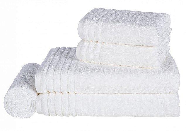 Jogo de Toalhas Banhão Gigante Trussardi 5peças Imperiale Branco/Gelo