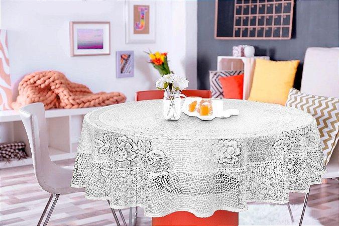 Toalha de Mesa Redonda Renda Branca Floral Interlar 4 lugares 150x0cm