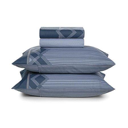 Jogo de Cama Casal Azul Valentino Karsten 150 Fios 4 peças