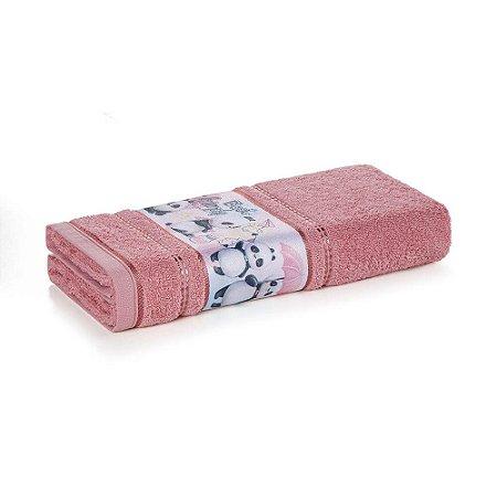 Toalha de Banho Infantil Menina Lia Natural/ Lady Pink Karsten 67x135cm